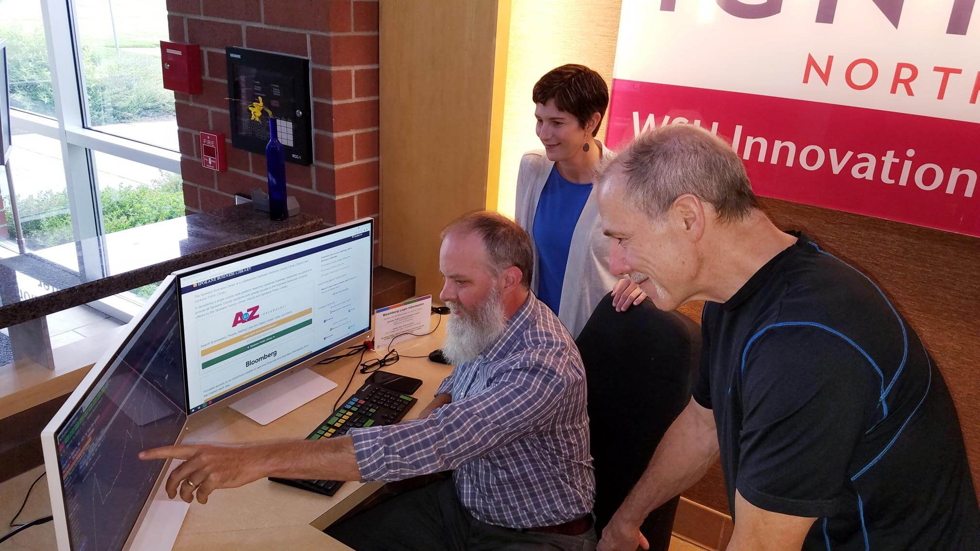 Spokane Public Library's Bloomberg Terminal temporarily moved to sp3nw offices in U-District's Ignite Building